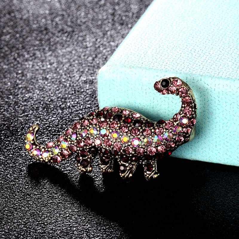 Zlxgirl Merek Mewah Dinosaurus Lucu Bentuk Hewan Bros Buket Perhiasan Fashion Wanita Vintage Berlian Imitasi Kristal Pin Syal