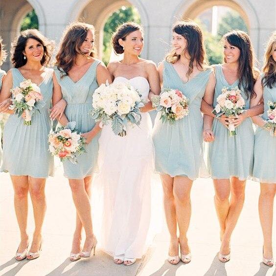 Cheap Short Mint Green   Bridesmaid     Dresses   2019 vestidos de fiesta de noche Sexy V Neck Wedding Party   Dress   Bridal Gowns