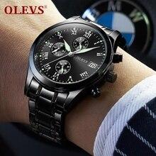 Top Brand Luxury Quartz Watch Men Casual Black Luminous Watches Japanese Movement Stainless Steel Mens Clock erkek kol saati