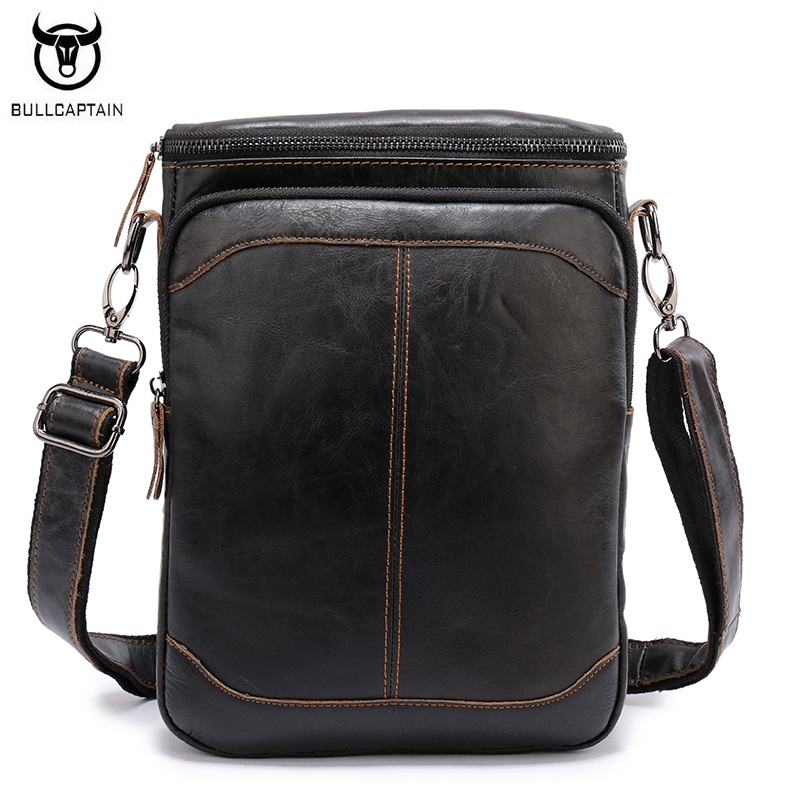 BULLCAPTAIN Genuine Leather Men Shoulder Bags Leisure Male Messenger Bag High Quality Cowhide Travel  Crossbody Bags Briefcase genuine leather crossbody messenger shoulder bag men business cowhide tote high quality travel casual male bags lj 962