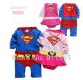 Bonito Superman Romper Do Bebê Menino Menina Manga Longa com Blusa Traje Macacão Novo Nascidos Bebe Macacão vestuário Infantil Criança Roupas