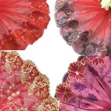 Кружевная ткань 1 ярд, Изысканная Цветочная вышивка, красная, черная, белая кружевная отделка для шитья, материалы для рукоделия, аксессуары ...
