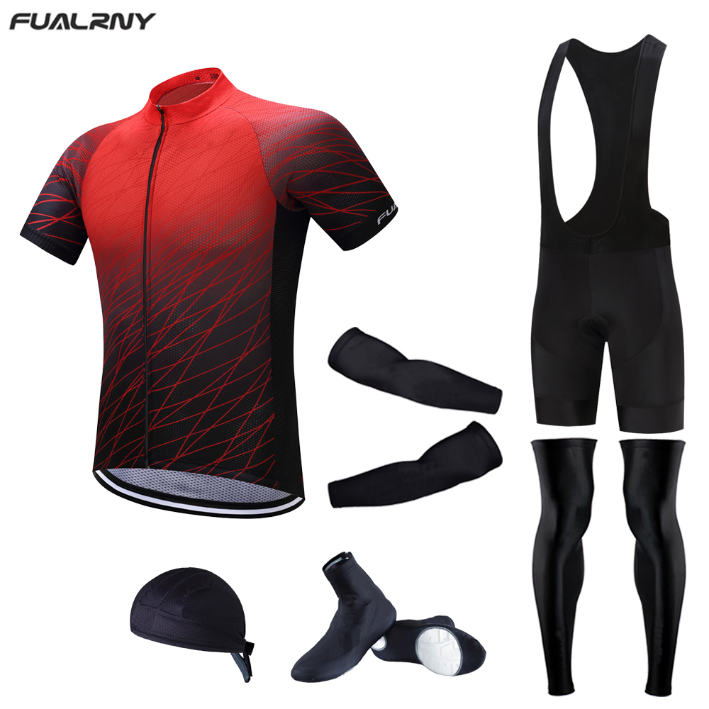 FUALRNY 2017 Summer Men's team pro Cycling Jersey Sets 5D Gel Padded Bike Shorts Breathable Cycling bike Clothing 6PCS full set
