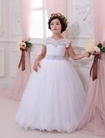 Vintage Flower Girl Dresses Na Wesela White Lace Custom Made Princess Tutu Cekinami Appliqued Bow Kids Pierwsza Komunia Suknia