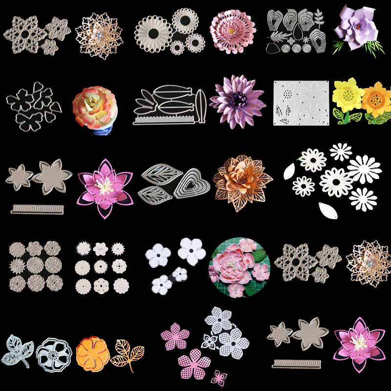 Mixed Flowers Metal Cutting Dies Stencils For DIY Scrapbooking Photo Album Decorative Embossing Paper Cards Crafting Die Cuts