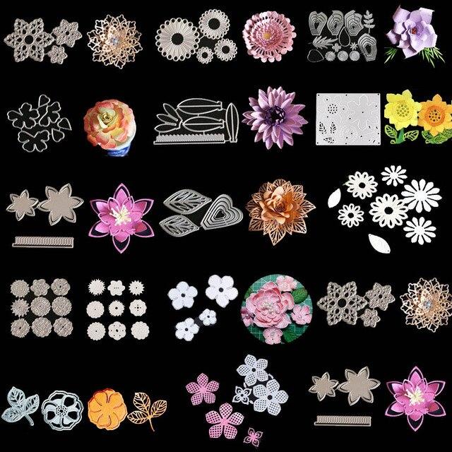 Смешанные цветы металлические трафареты для пресс-формы для DIY Скрапбукинг фото украшение для альбома тиснение бумажные карты Крафт высечки