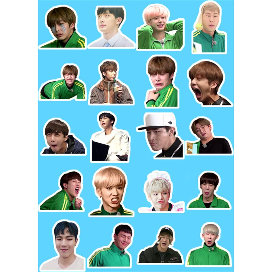 Kpop Monsta X Adhesive Photo Stickers For Luggage Laptop Notebook Mobile Phone Shownu I.M Funny Expression DIY Sticker
