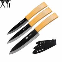 High Class Bamboo Handle Black Blade Kitchen Knife 3 Pcs Set XYj 4 5 6 Utility