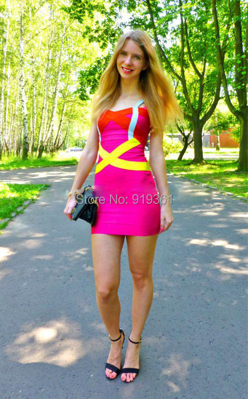 2015 Hot Summer Women 100% Rayon Criss-Cross Sexy Patchwork Pink Cocktail Party Dress Strap/Yellow/Orange Bandage Dress HL047