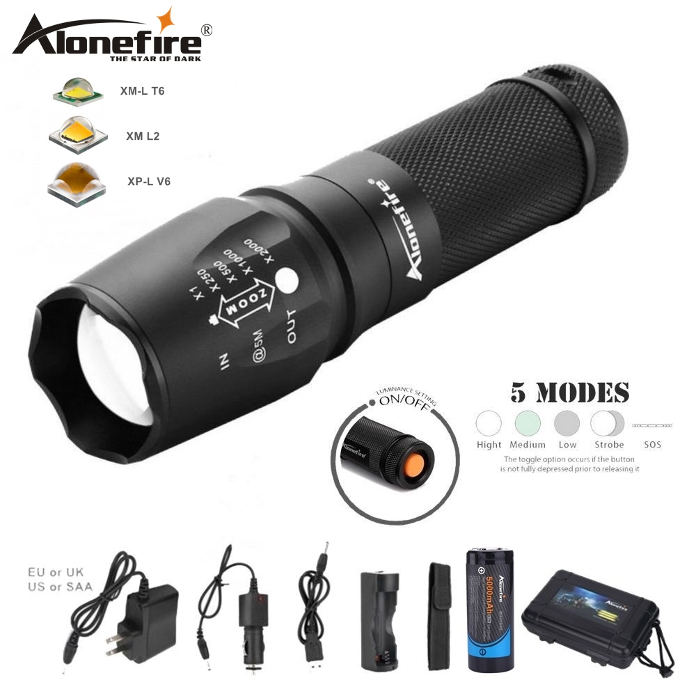 все цены на ALONEFIRE X800 Zoom Cree XM-L2 T6 led Zaklamp flashlight lantern War Tactical Torch night light 18650 26650 Rechargeable battery онлайн