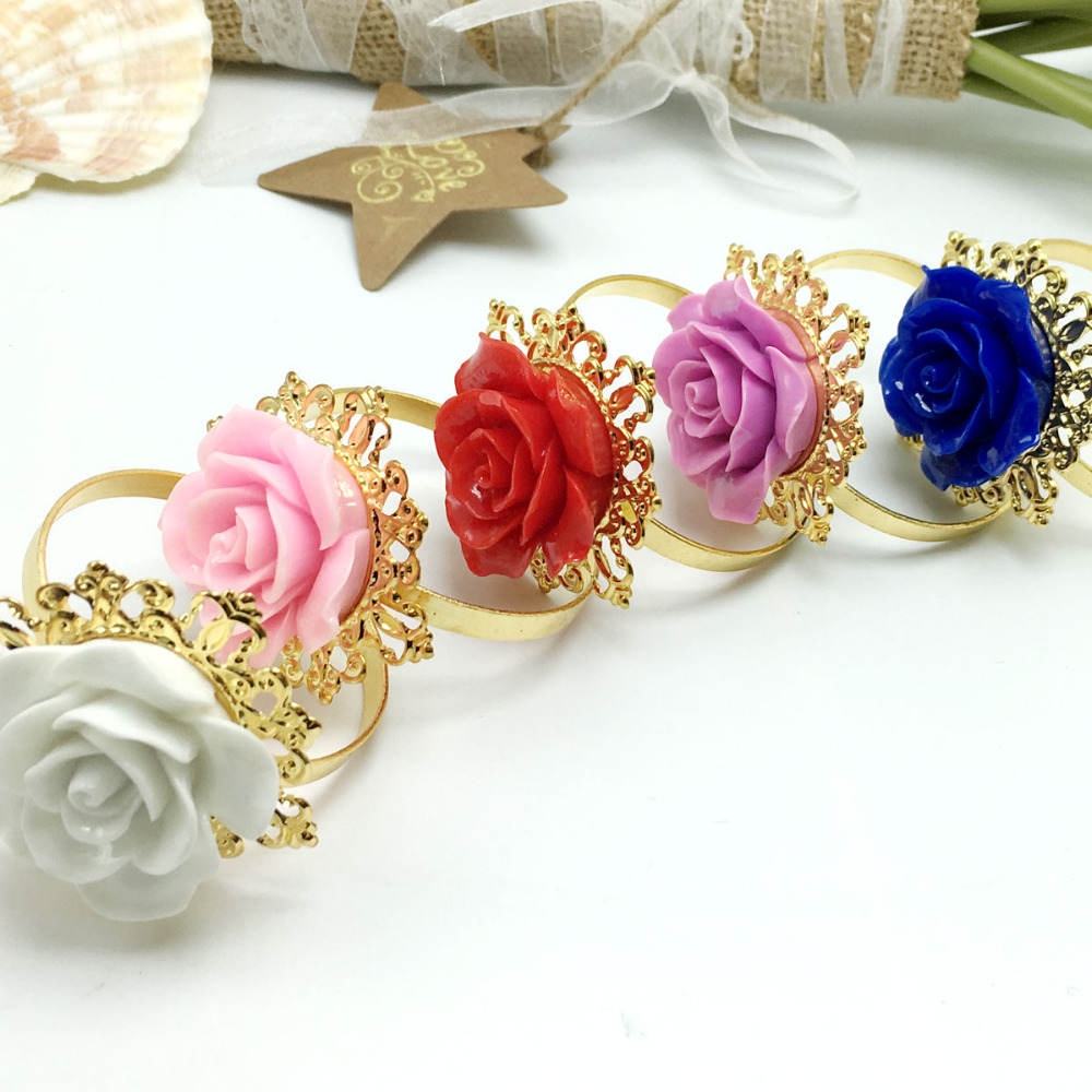 50pcs/lot Many colors Rose Flower Decor Gold Napkin Rings Holder Hoops Romantic Nice Looking Weeding Party Table Decoration