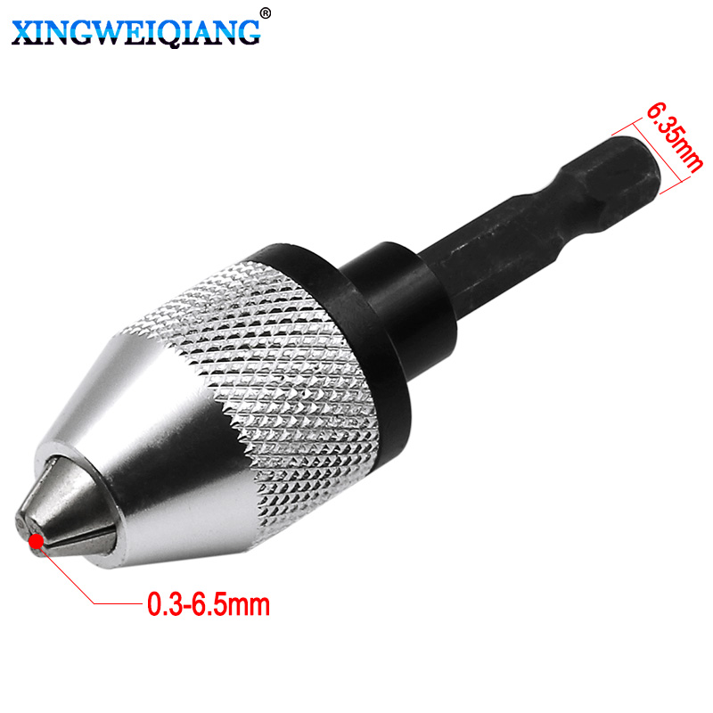 0.3-6.5mm Clamping Range Driver Tool Accessories Keyless Adapter Impact Hex Shank Drill Chuck