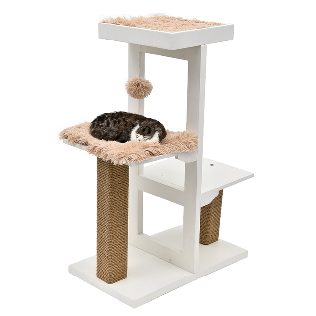 Domestic Delivery H93 cm Cat Tree Tower Furniture Kitten Playhouse Sisal Scratching Posts Cat Jumping Platforms With Soft Mat