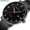 CRRJU для мужчин s часы бизнес водонепроницаемый Нержавеющая сталь сетки наручные часы мужские спортивные простой дизайн аналоговые часы для ...
