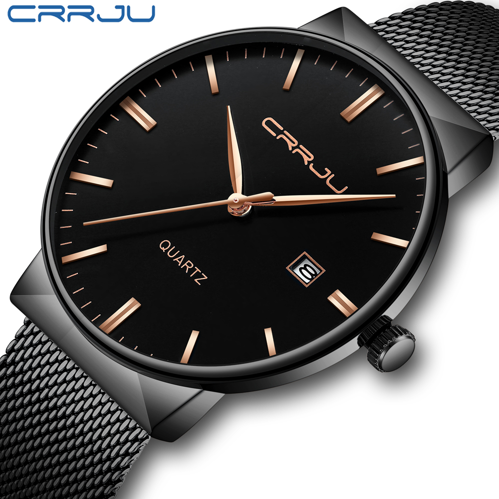 CRRJU Mens Watches Business Waterproof Stainless Steel Mesh Wrist Watches Gents Sport Simple Design Analogue Watches For Men
