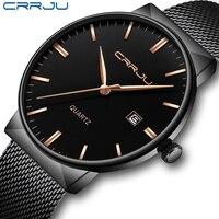 Crrju relógios masculinos negócios à prova dwaterproof água aço inoxidável malha relógios de pulso gents sport design simples relógios analógicos para homem