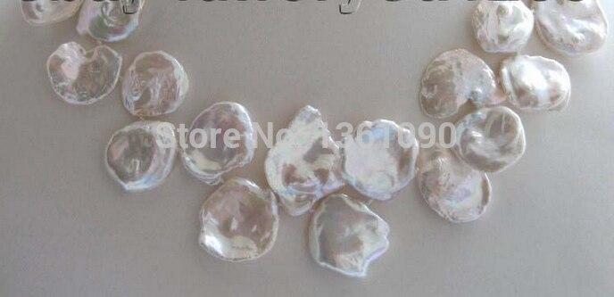 000502 Natural White Reborn Keshi Petal Pearl Necklace 14KGP цена