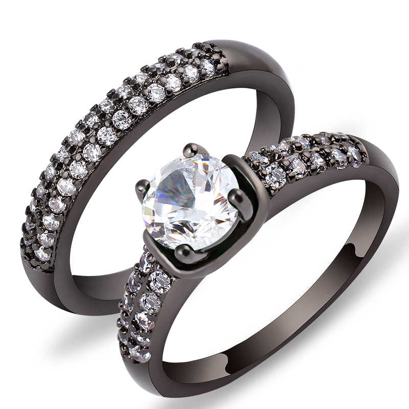 Charming L Green Crystal Zircon Ring Sets Vintage Wedding Rings For Men And Women Black Gold Filled Jewelry Valentine's Day