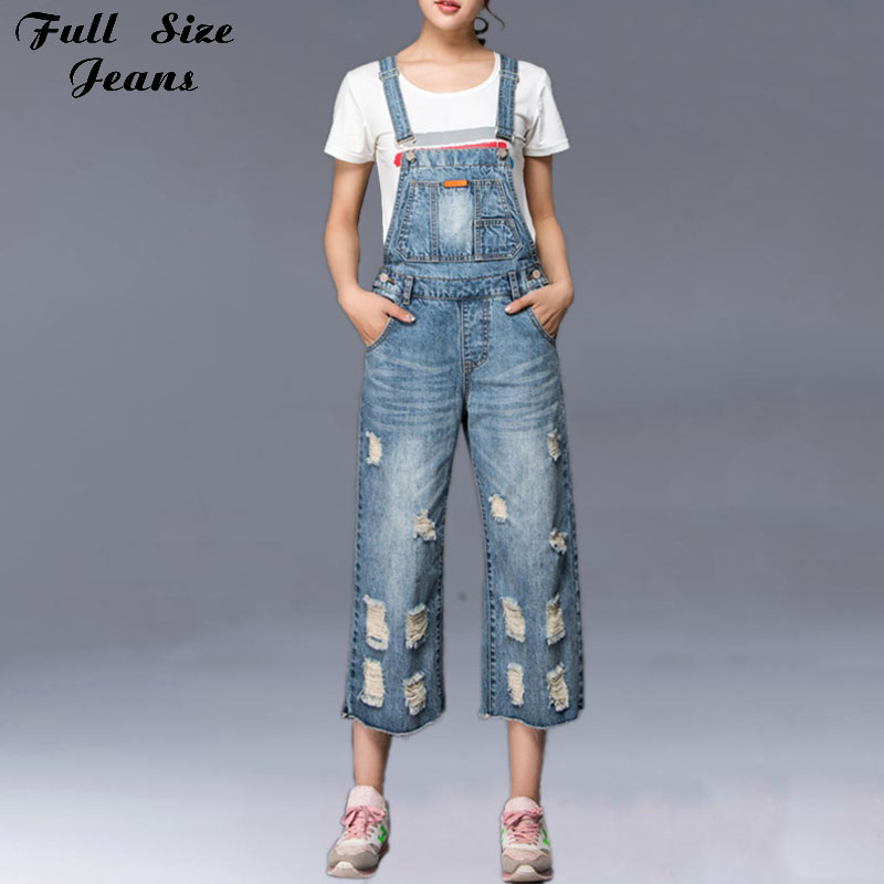 ФОТО Summer Plus Size Loose Ripped Overalls Casual Calf-length Wide Leg Retro Capris Rompers Womens Jumpsuit  Jeans S 4XL 5XL 2XL 7XL