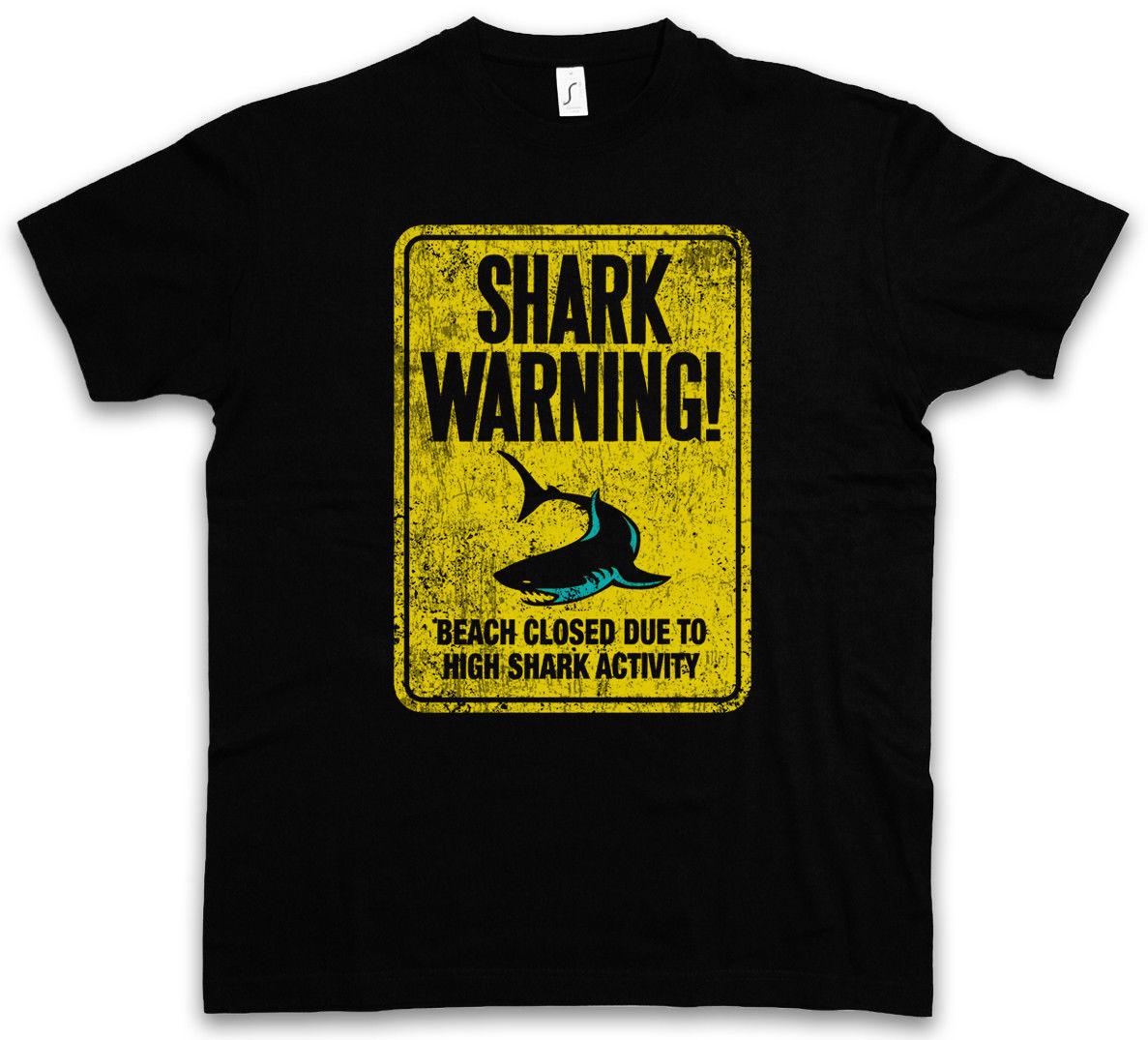2018 Для мужчин модная футболка АКУЛА предупреждающий знак II футболка Surfer Diver taucher тигр белый убийца