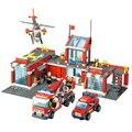 Clásicos Ladrillos Niños Juguetes Educativos Bloques de Construcción de la Estación de Bomberos 774 unids/set Citys Estación de Bomberos Compatible Con Legoes