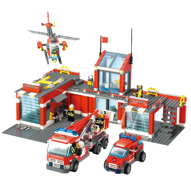 Classic Firefighter Station 774pcs set Building Blocks Educational Bricks Kids Toys Citys Fire Station Compatible With