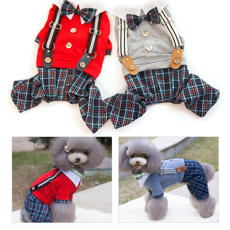 2016 New Fashion Pet Dog Clothes Dog Jumpsuits Yorkshire Terrier Small Dog font b Tartan b