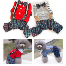 2016 New Fashion Pet Dog Clothes Dog Jumpsuits Yorkshire Terrier Small Dog Tartan Overalls Pet Clothing PTa118