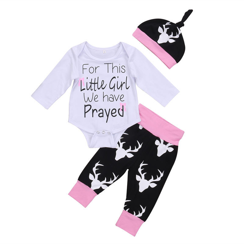 New Casual Newborn Infant Baby Girls Clothes Deer Tops Letter Romper Pants Hat 3Pcs Outfits Set Clothes