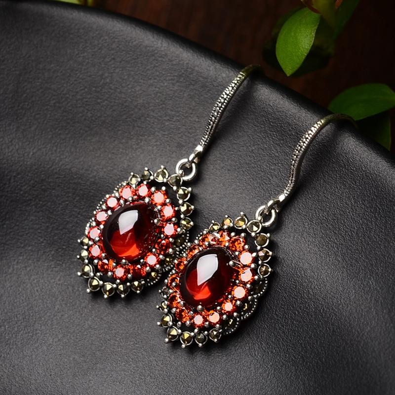 S925 pur argent boucles d'oreilles tempérament des femmes avec zircon rouge ovale national vent tremella bijoux cadeaux - 2