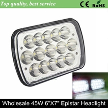 7inch 45w led car light IP67 high quality 4x4 off road led working light 6x7 inch dust proof rectangle led headlights for truck
