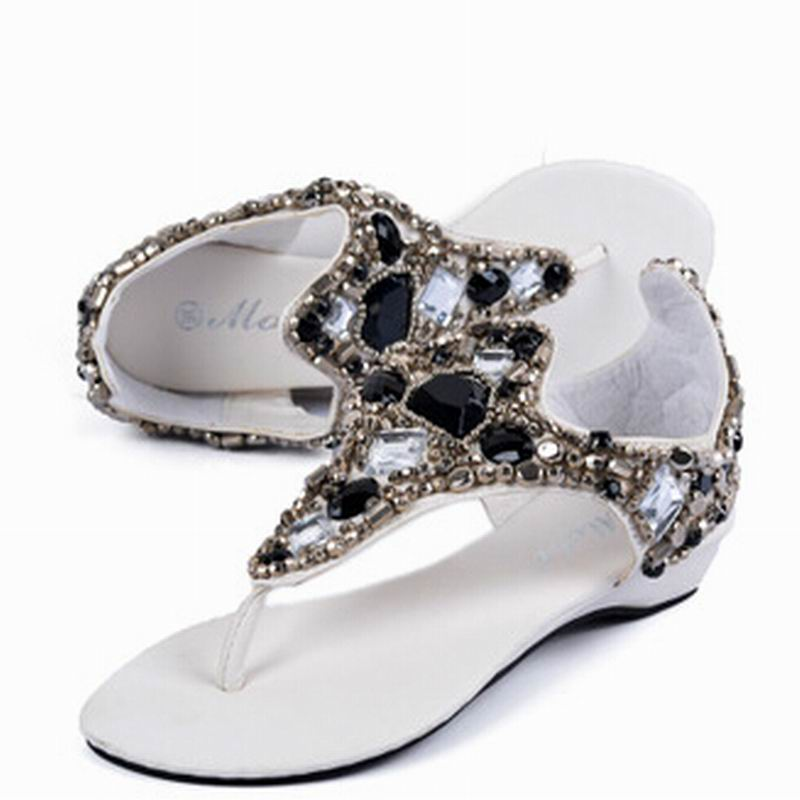 2017 Flat Sandals Fashion Trend Sandals Bohemia National Flat Heel Beaded Summer Women shoes Fashion Cute Sweet 2016 fashion summer women flat beaded bohemia ppen toe flat heel sweet women students beach sandals o643