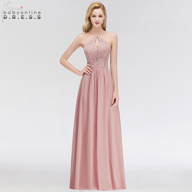 888c106a0f3d8 US $36.99 35% OFF|Babyonline Sexy Dusty Rose Lace Chiffon Evening Dresses  2019 Long Backless Formal Evening Gowns Party Dress vestido de fiesta-in ...