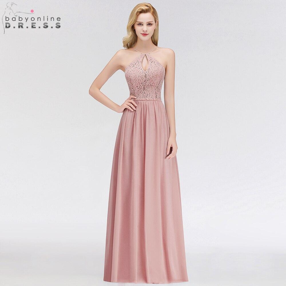Babyonline Sexy Dusty Rose Lace Chiffon   Evening     Dresses   2019 Long Backless Formal   Evening   Gowns Party   Dress   vestido de fiesta