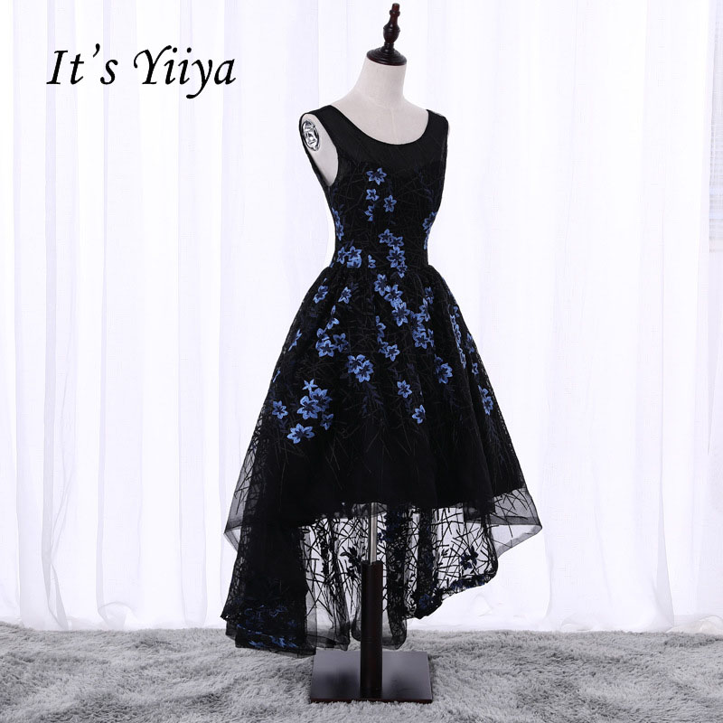 It's YiiYa Sexy Black Backless Sleeveless High-low Lace Up Embroidery   Cocktail     Dresses   Knee Length Formal   Dress   Party Gown X070
