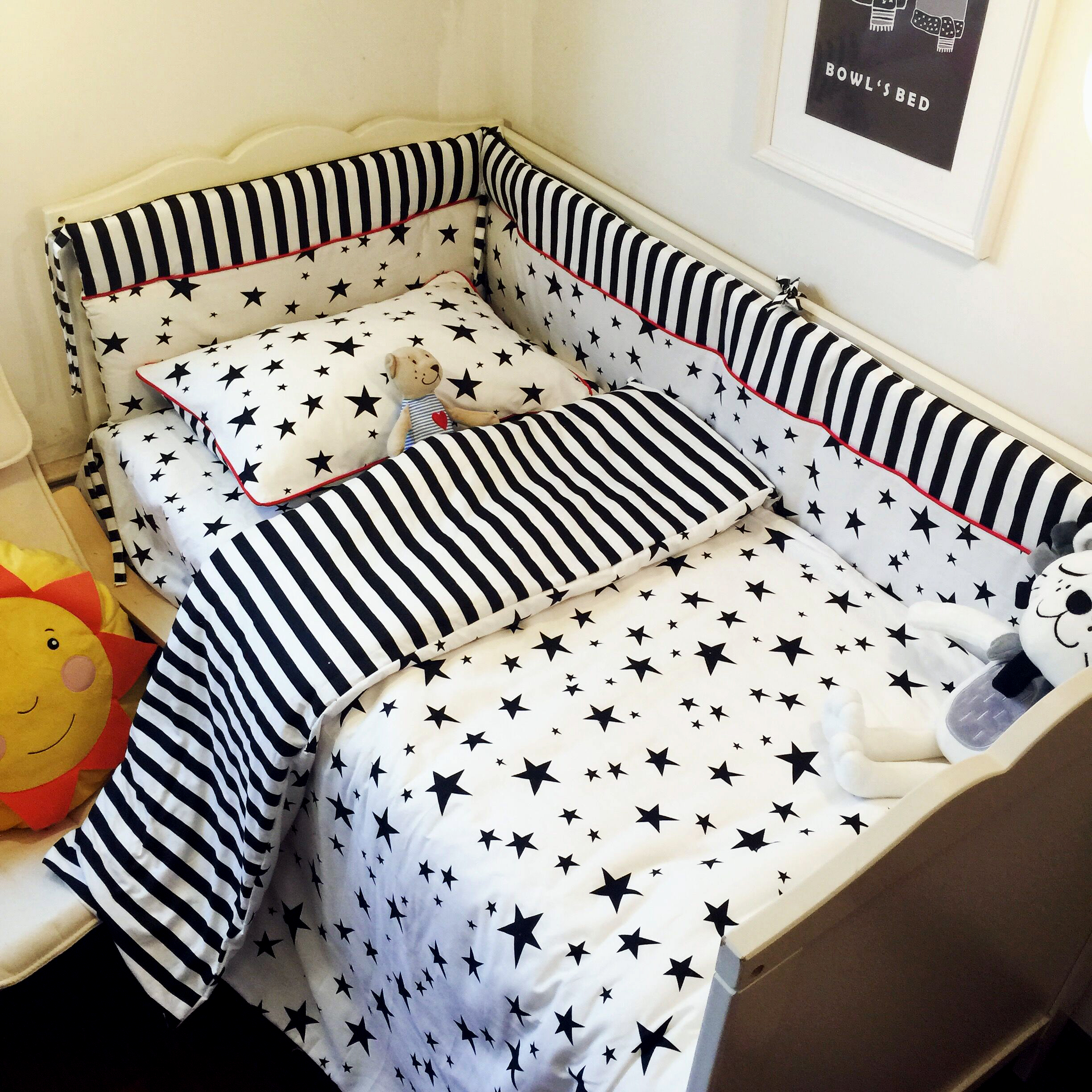 Baby Bedding Set Classic Starry Soft Cotton Printed No Fluorescent Bedding Newborn Around Bumper Bed Sheet Quiltcover Pillowcase