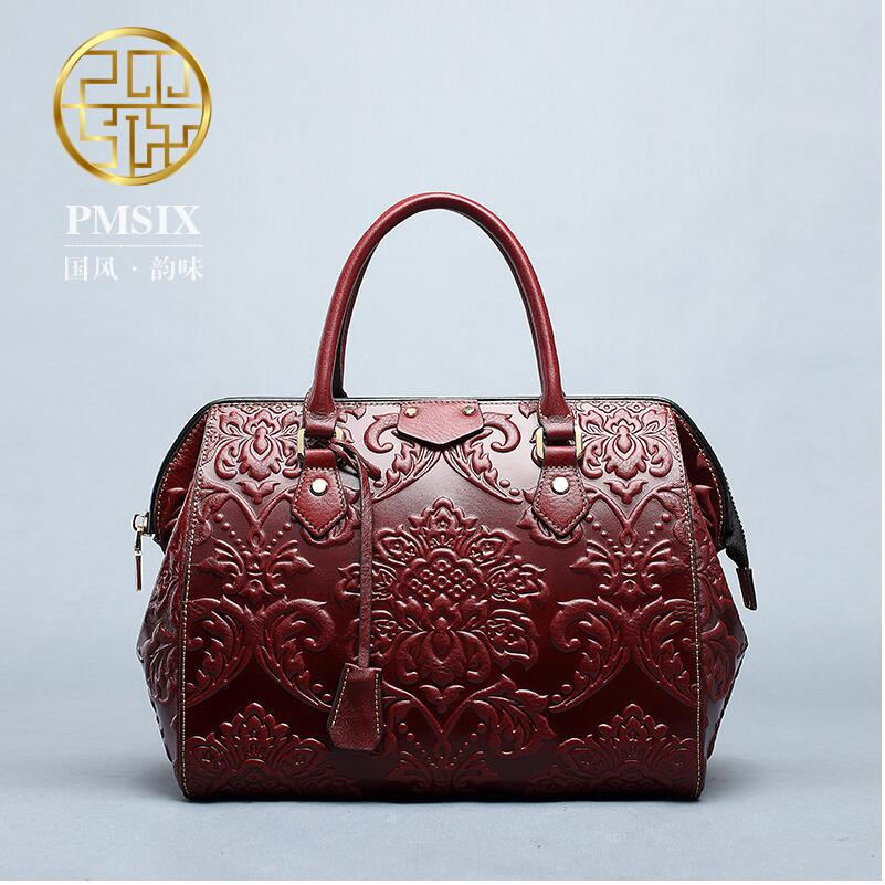 2017 Pmsix new China embossed leather handbag first layer of leather Messenger bag fashion retro women bag polo women golf club clothing bag handbag nylon first layer of leather