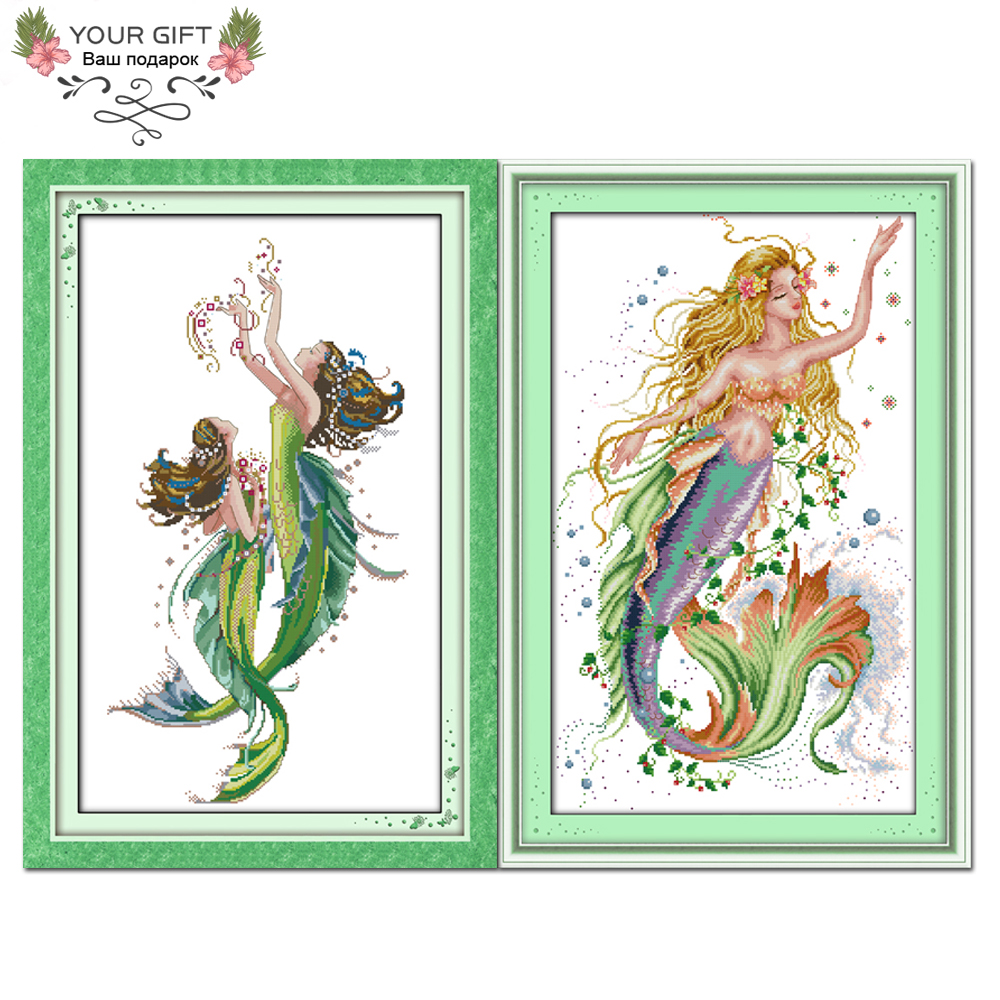 2019 Nuovo Stile Il Vostro Regalo R189 (1) (2) Contati E Timbrato Home Decor The Mermaid Ricamo Ad Ago A Punto Croce Kit Nutriente I Reni Alleviare I Reumatismi