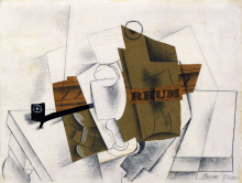 abstract scenery canvas painting Pablo Picasso Pipe, Glass, Bottle of Rum masterpiece reproduction free shipping duchting hajo pablo picasso