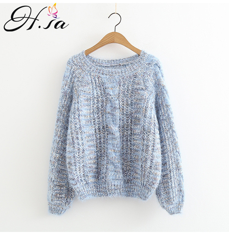 H. SA 2018 Automne Femmes Pull Chandails Oneck Latern Manches Mohair Pull Cavaliers Torsion Taille Haute Pull Chandail D'hiver Tops Femme