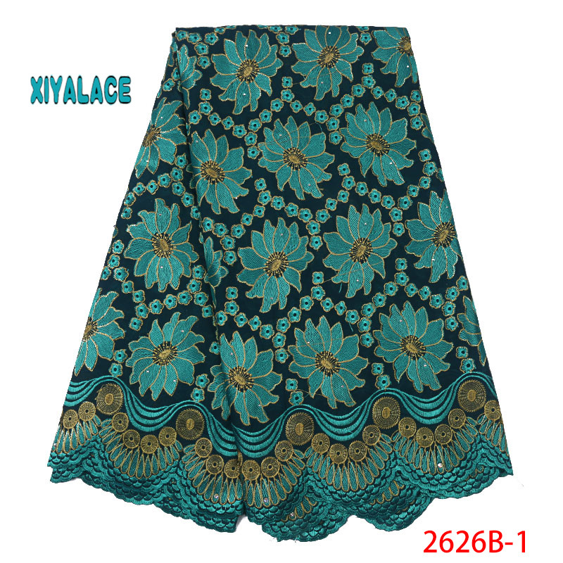 African Lace Fabric Swiss Voile Lace Fabric 2019 High Quality Stones Swiss Voile Lace In Nigerian Fabrics Party Dress YA2626B-1