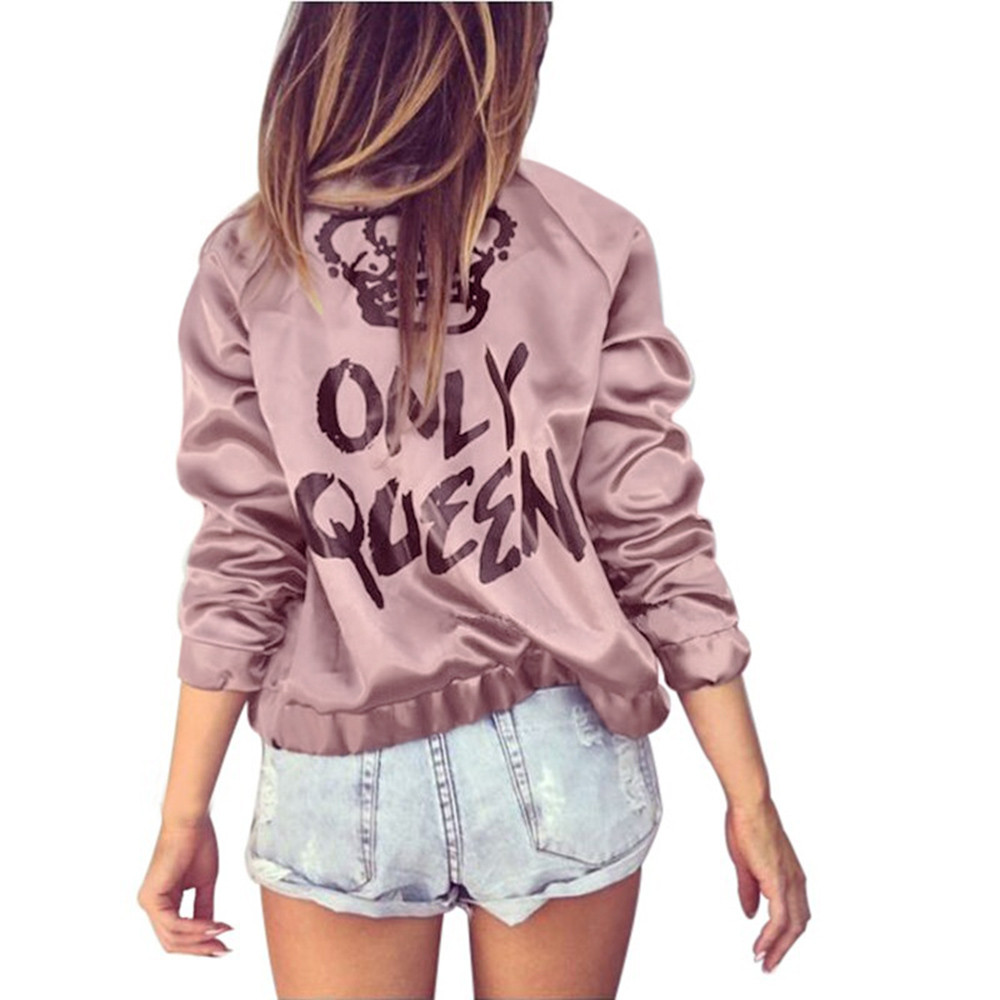 Free Ostrich Spring Autumn 2019 Fashion Women   Basic     Jacket   Coat Zipper Letter Print Outwear Loose Outerwear Stand Collar