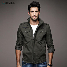 Фотография KUEZLE Men jacket jean military Plus 6XL army soldier cotton Air force one male Brand clothing Spring Autumn Mens jackets 8331