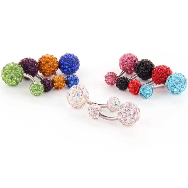 1 Piece Stainless Steel Crystal Rhinestone Shaballa Ball Belly Button Ring