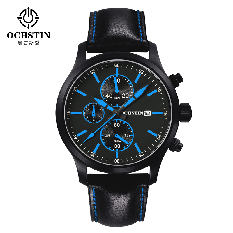 2016 Limited Fashion Men Watch Ochstin Multifunction Casual Watches Top Brand Luxury Leather Wristwatches Quartz Reloj Hombre fashion men watch wwoor brand casual watches men top brand waterproof luxury steel men wristwatches quartz watch reloj hombre