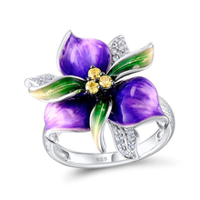 Vintage Flower Rings for Women Fashion Beautiful Rhinestone Wedding Jewelry 100% 925 Sterling Silver Anillos Mujer