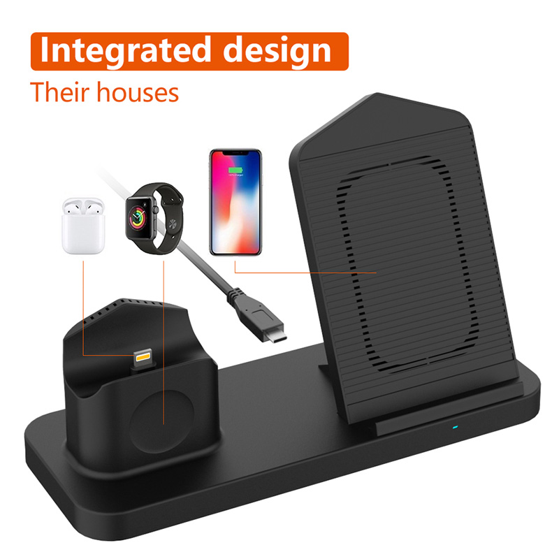 Image 5 - Fast 3 in 1 Wireless Charger for iPhone 3in1 Wireless Charging Dock Station Qi 10W for iPhone X XS Max XR 8 AirPods Apple Watch-in Mobile Phone Chargers from Cellphones & Telecommunications
