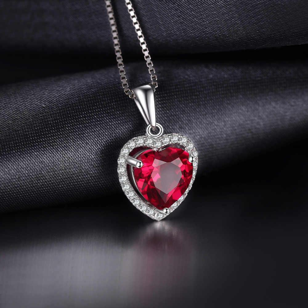 JPalace Coração Criado Pingente de Rubi Vermelho Colar de Prata Esterlina 925 Pedras Preciosas Gargantilha Declaração Mulheres C