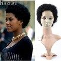 Razeal barato afro rizada rizada perruque corto afroamericano pelucas cortas para las mujeres negras peluca sintética rizo peluca cosplay femenino