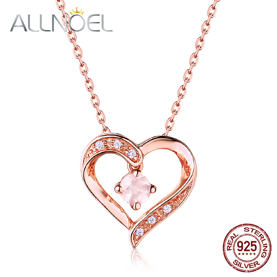 Allnoel 925 Sterling Silverpendant Necklace For Girls Actual Gemstone Jewellery Rose Gold Colour Pure Rose Quartz Coronary heart Pendant